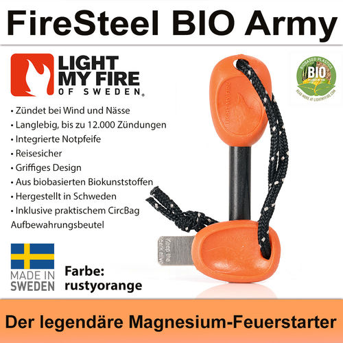 Swedish FireSteel BIO Army 2in 1 - rustyorange