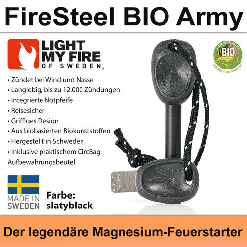 Swedish FireSteel BIO Army 2in 1 - slatyblack