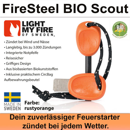 Swedish FireSteel BIO Scout 2in 1 - rustyorange