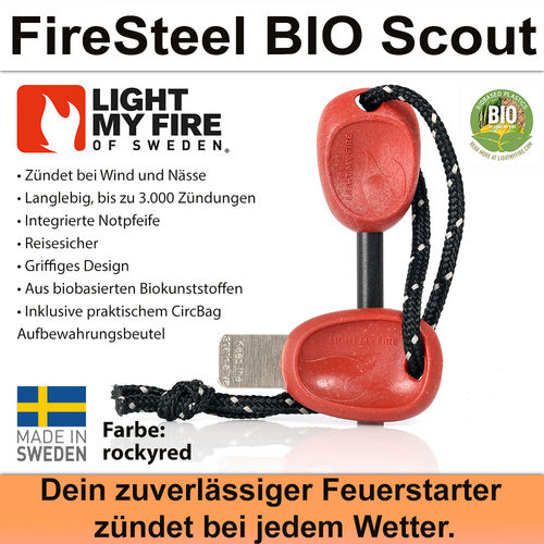 Swedish FireSteel BIO Scout 2in 1 - rockyred
